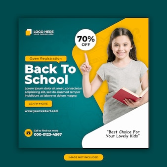 Back to school admission offer social media banner design template