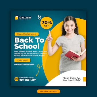 Back to school admission offer social media post banner design template