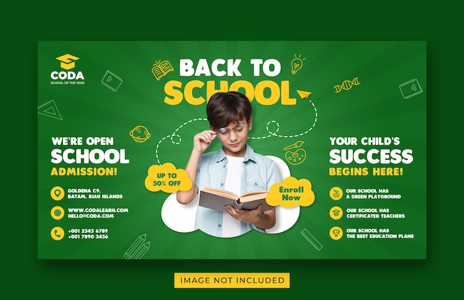 back to school admission promotion web banner template
