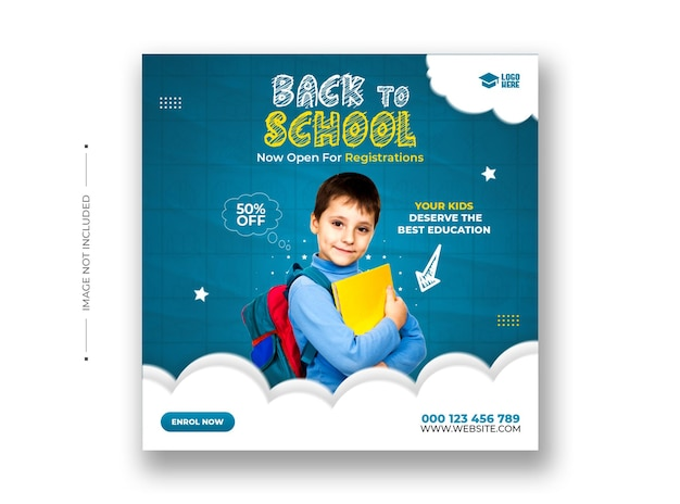 Back to school admission on social media and instagram post template