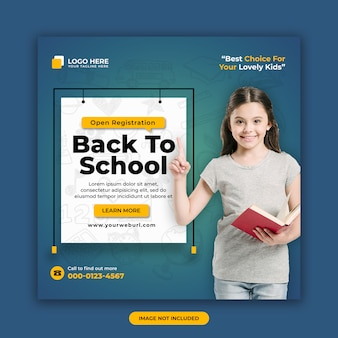 Back to school admission social media post banner design