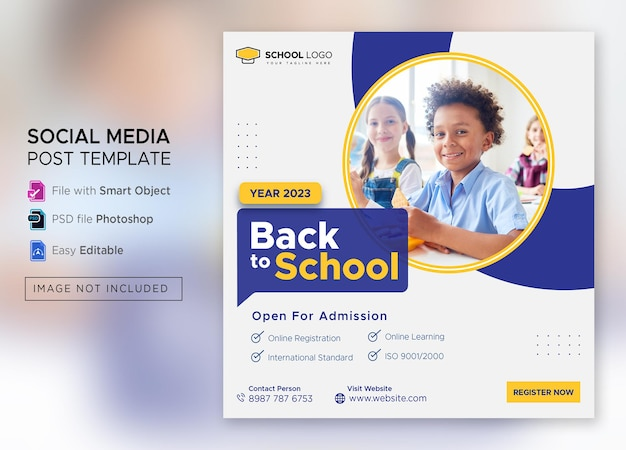 Back to school admission social media post or square flyer template premium psd
