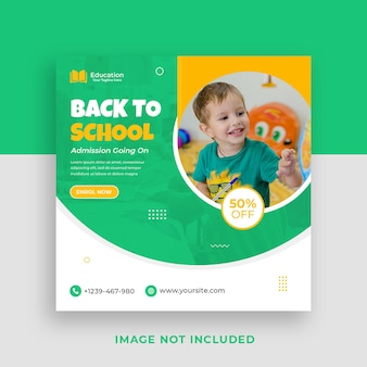 Back to school admission square social media banner templates premium psd