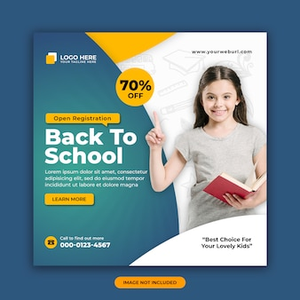 Back to school admission square social media post banner design template