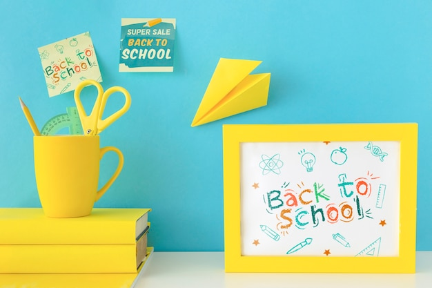 Back to school advertising mockup design
