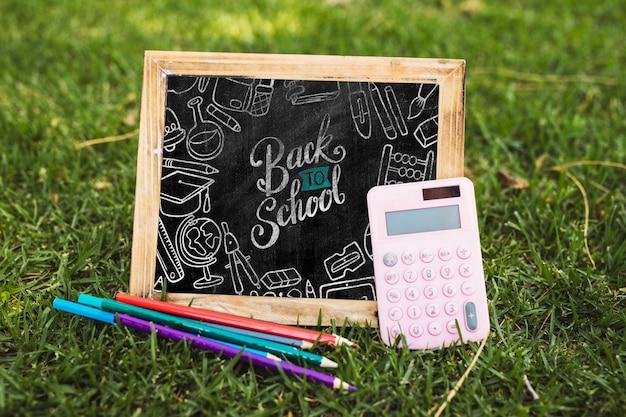 Back to school arrangement with blackboard