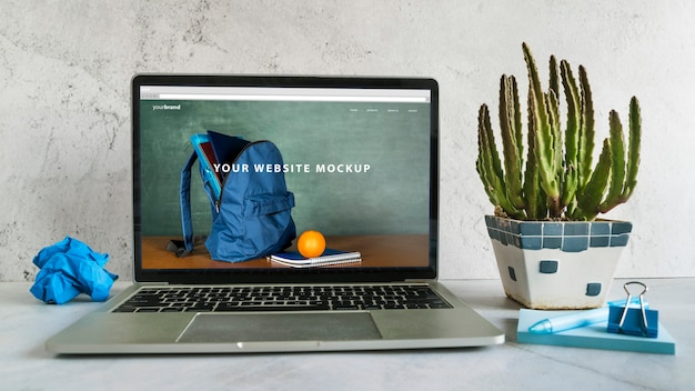 Back to school arrangement with website mock-up