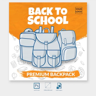 Back to school backpack offer social media post template
