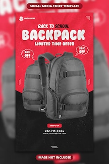 Back to school backpack sale social media and instagram story template