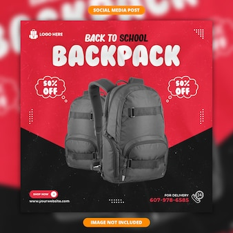 Back to school backpack social media post banner template