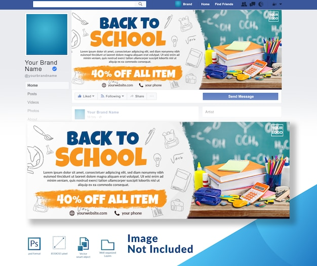 Back to school banner social media cover banner template