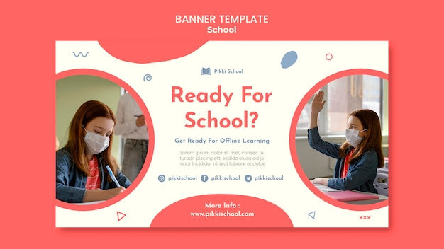 Back to school banner template with photo