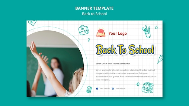 Back to school banner template Free Psd