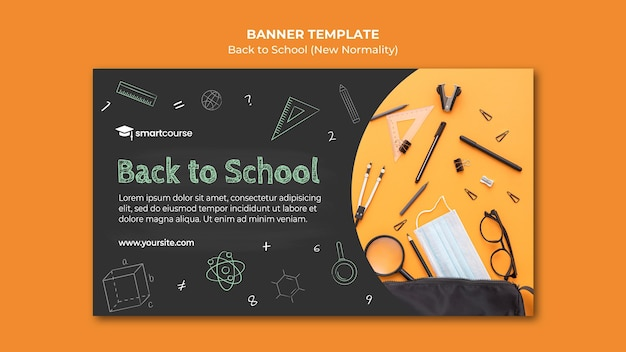Back to school banner with photo