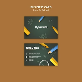 Back to school business card front and back