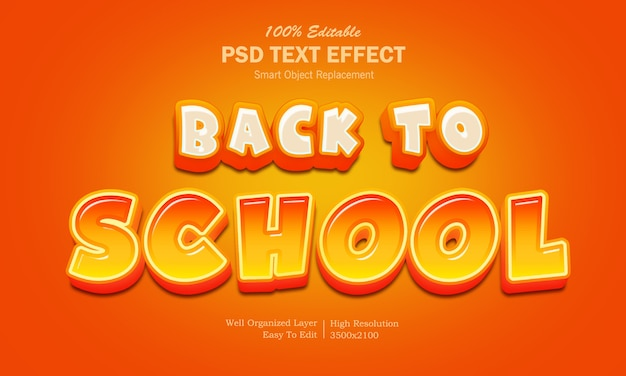 Back to school cartoon style text effect