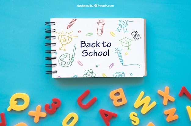 Back to school composition with notepad