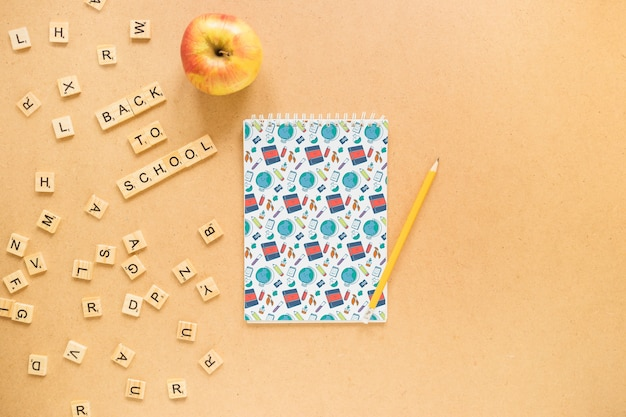 Back to school composition with paper cover