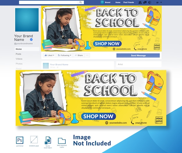 Back to school discount offer social media cover template