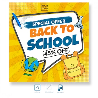 Back to school discount sale social media post or banner template