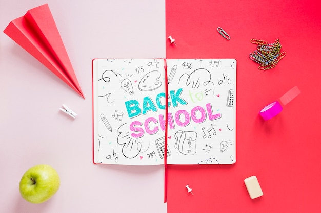 Back to school drawing on opened notebook