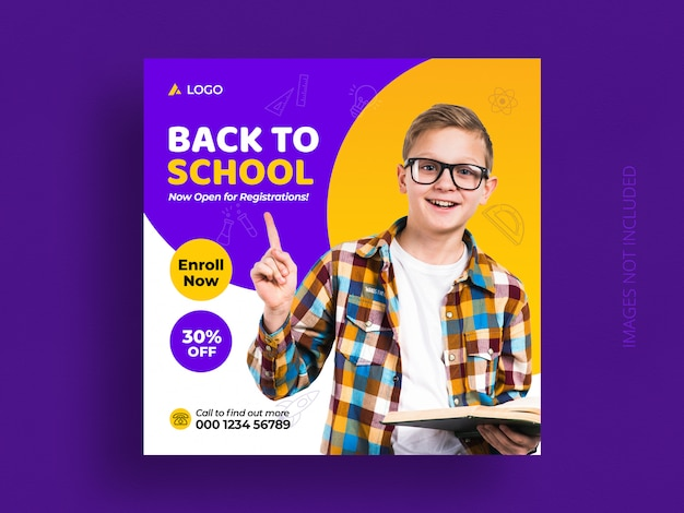 Back to school education admission social media post & web banner template