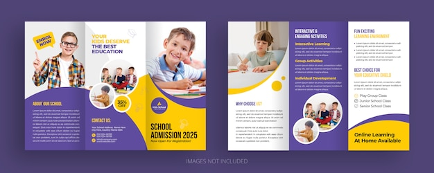 Back to school education admission trifold brochure template