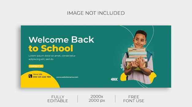Back to school facebook cover and web banner template