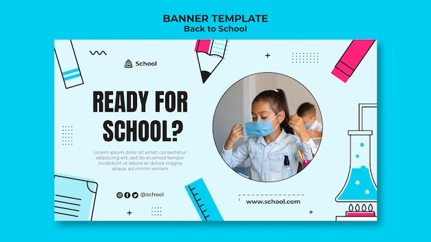 Back to school horizontal banner template with child wearing face mask