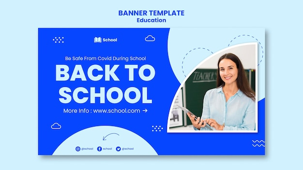Back to school horizontal banner template Free Psd