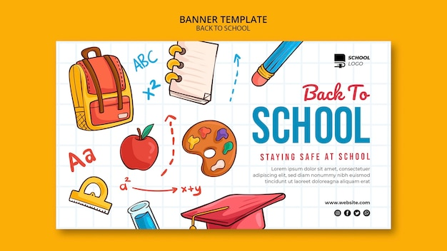 Back to school horizontal banner template