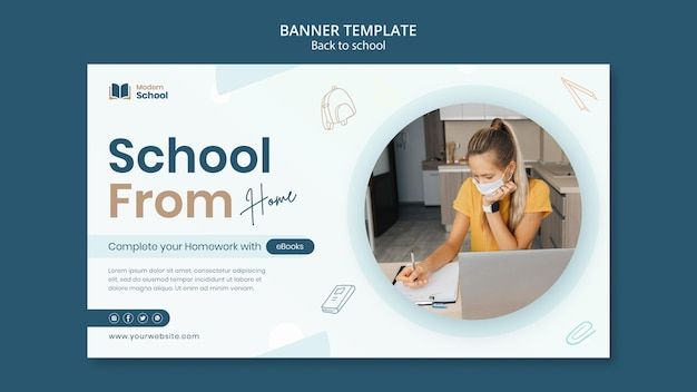 Back to school horizontal banner with photo