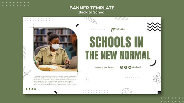 Back to school horizontal banner Free Psd