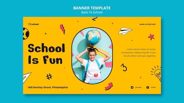 Back to school horizontal banner