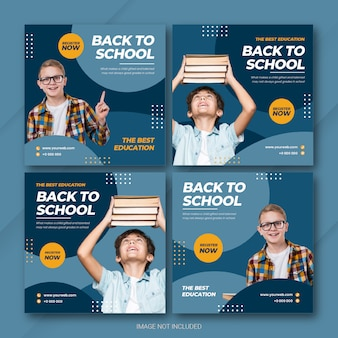 Back to school instagram post bundle template