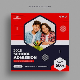 Back to school instagram post or square web banner template