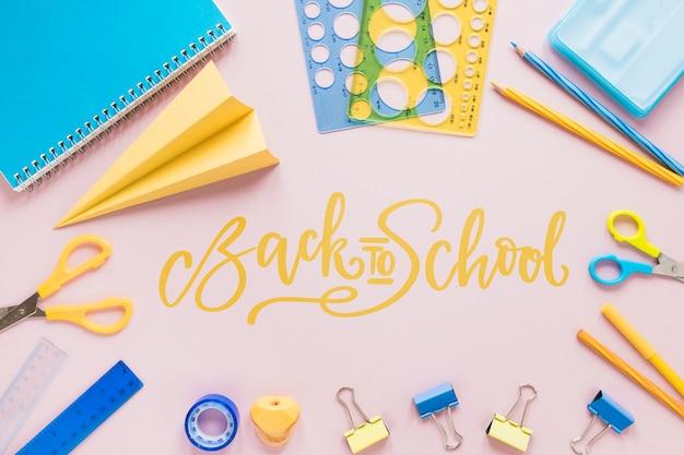 Back to school items arrangement