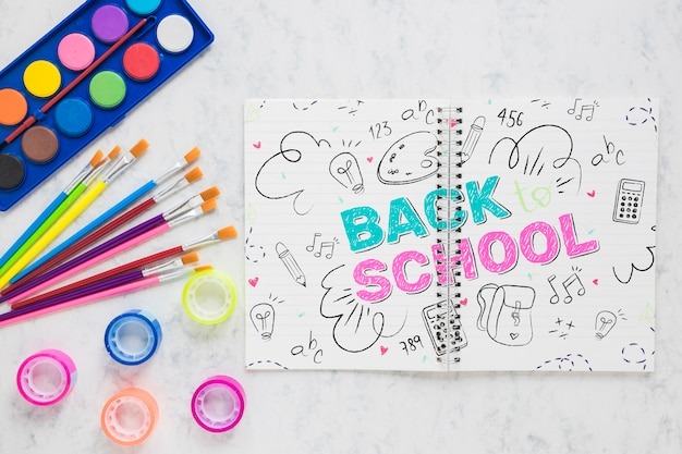 Back to school items with watercolors