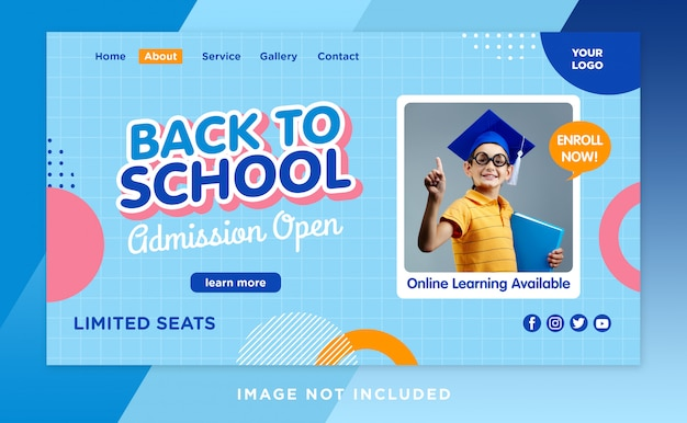 Back to school landing page header template