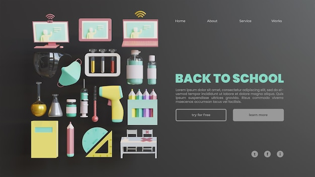 Back to school landing page template with 3d rendering composition