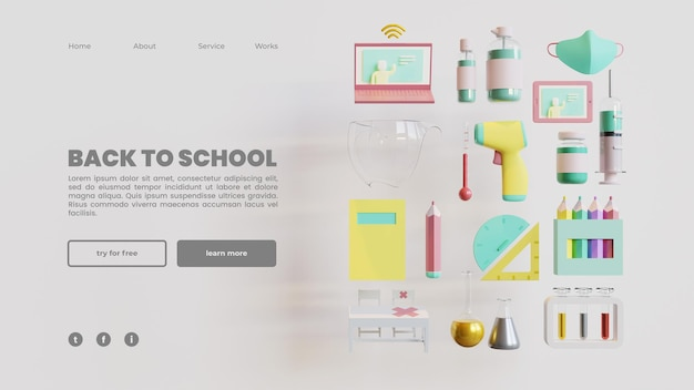 Back to school landing page template with 3d rendering illustration