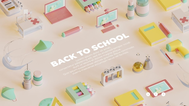 Back to school landing page template with 3d rendering objects composition