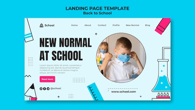 Back to school landing page template with child wearing face mask