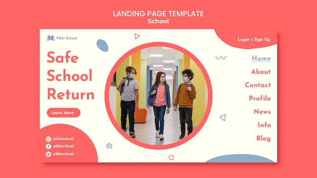 Back to school landing page template with photo