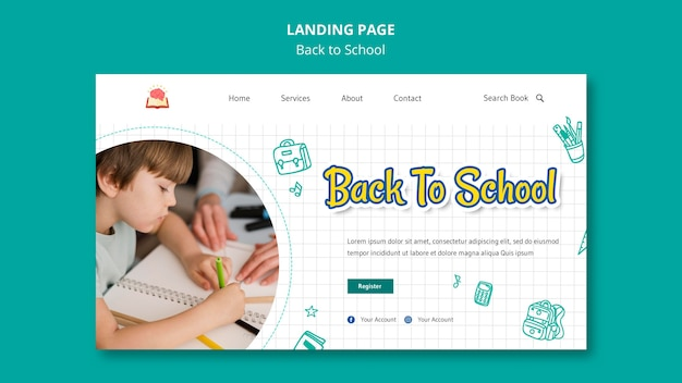 Back to school landing page template Free Psd