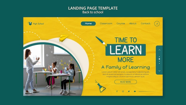 Back to school landing page with photo