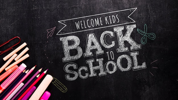 Back to school message on blackboard mock-up