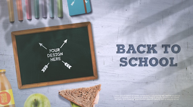 Back to school mockup chalkboard and lunch break