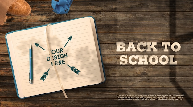 Back to school mockup notebook on dark wooden table window shadows