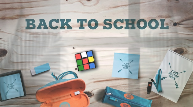 Back to school mockup school supplies on rustic wooden table realistic shadows